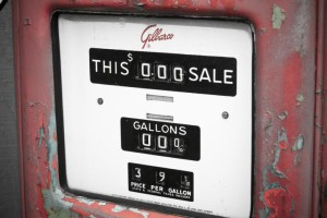 A gas (petrol) pump showing the sale