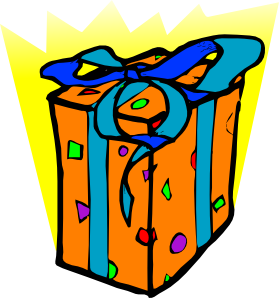 A bright orange dotted box with a blue riibbon on a yellow background